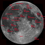 Webcam Moon mosaic with major Lunar features labeled